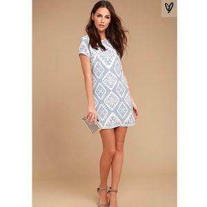 Lulus Give Me a Print Light Blue Shift Dress XS